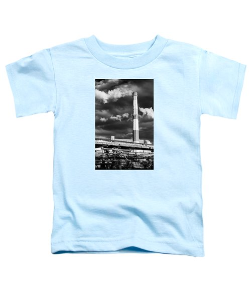Huge Industrial Chimney And Smoke In Black And White Toddler T-Shirt