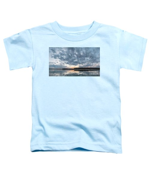 Large Panorama Of Storm Clouds Reflecting On Large Lake At Sunse Toddler T-Shirt