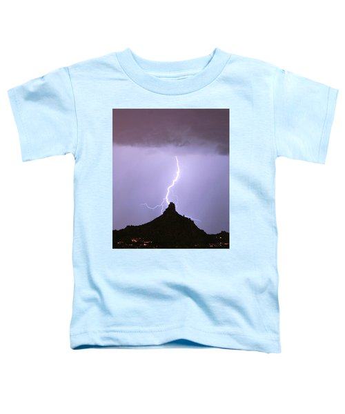 Lightning Striking Pinnacle Peak Scottsdale Az Toddler T-Shirt