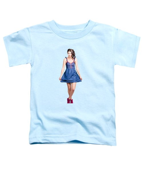 Lovable Eighties Female Pin-up In Denim Dress Toddler T-Shirt