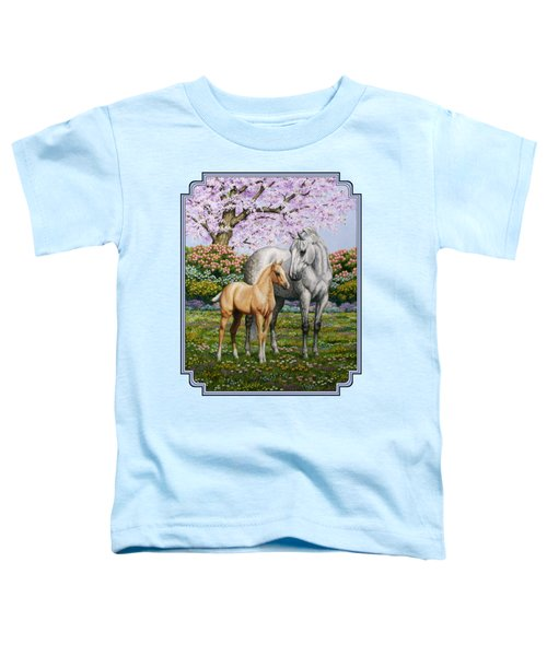 Mare And Foal Pillow Blue Toddler T-Shirt