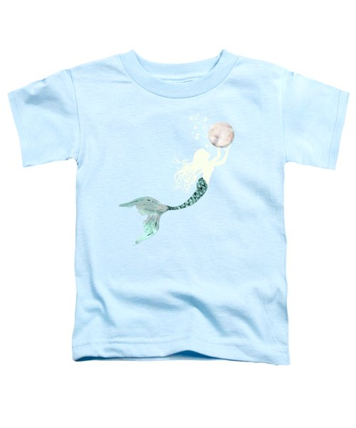 Mermaid Gathering Pearls Creamy White Siren Holds A Huge Pearl Toddler T-Shirt by Tina Lavoie