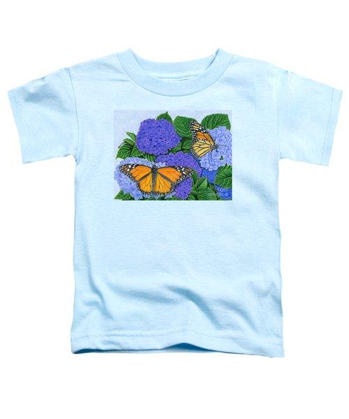Monarch Butterflies And Hydrangeas Toddler T-Shirt