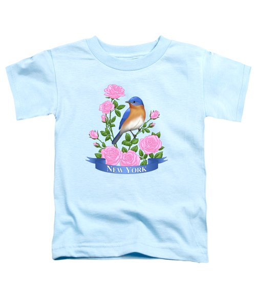New York Bluebird And Pink Roses Toddler T-Shirt