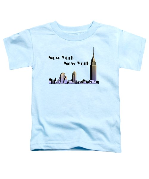 New York New York Skyline Retro 1930s Style Toddler T-Shirt by Heidi De Leeuw