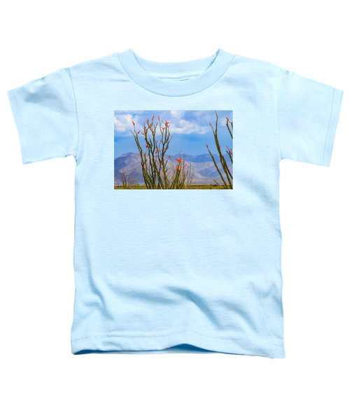 Ocotillo Cactus With Mountains And Sky Toddler T-Shirt