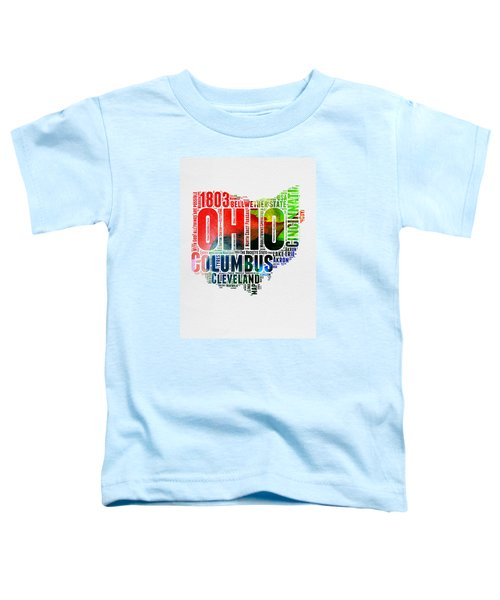 Ohio Watercolor Word Cloud Map  Toddler T-Shirt