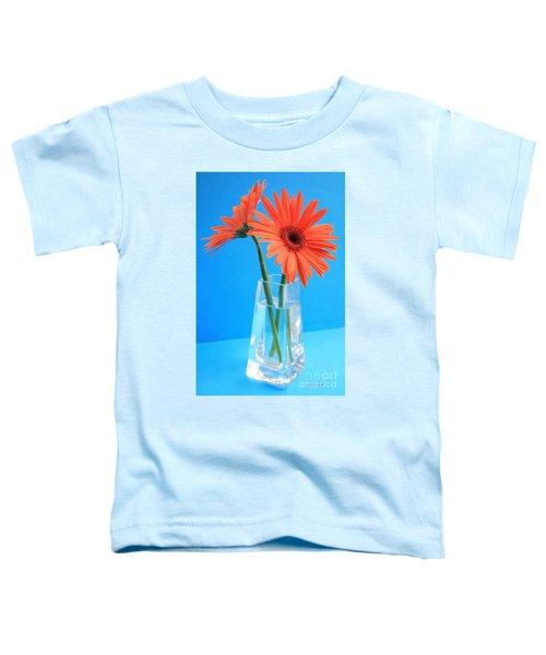 Orange Gerberas In A Vase - Aqua Background Toddler T-Shirt