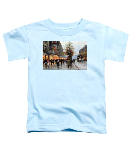 Toddler T-Shirt featuring the painting Paris Street Scene by Edouard Cortes