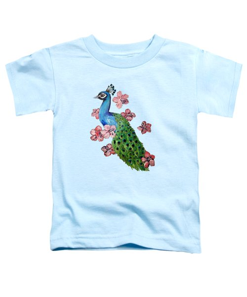 Peacock And Hibiscus Toddler T-Shirt