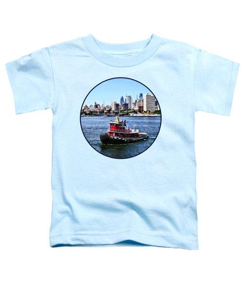 Philadelphia Pa - Tugboat By Philadelphia Skyline Toddler T-Shirt by Susan Savad