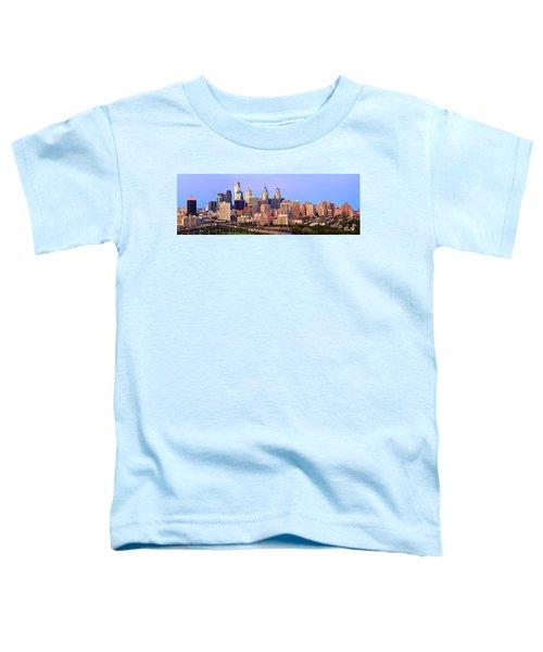 Philadelphia Skyline At Dusk Sunset Pano Toddler T-Shirt by Jon Holiday