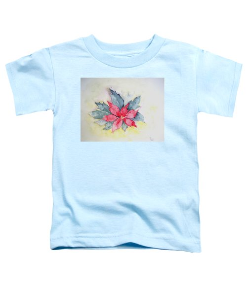 Pink Poinsetta On Blue Foliage Toddler T-Shirt