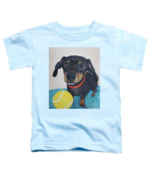 Playful Dachshund Toddler T-Shirt by Megan Cohen