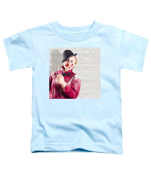Possessed Girl With Bloody Toothbrush. Gum Disease Toddler T-Shirt
