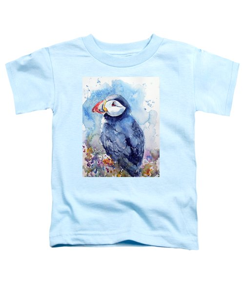 Puffin With Flowers Toddler T-Shirt by Kovacs Anna Brigitta