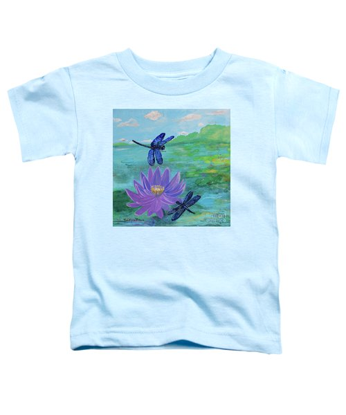 Purple Water Lily And Dragonflies Toddler T-Shirt