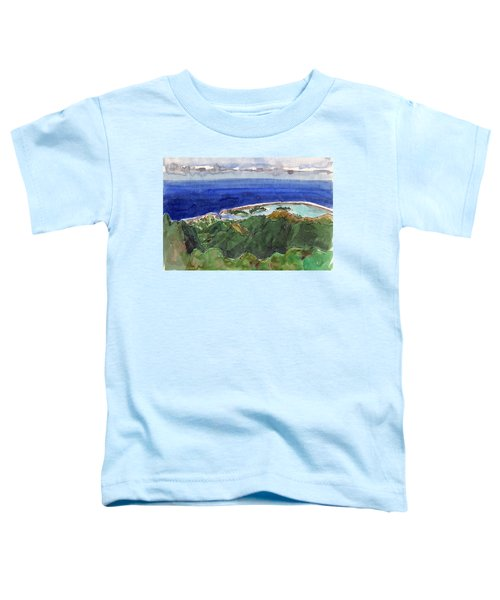 Toddler T-Shirt featuring the painting Rarotonga, View From Te Manga by Judith Kunzle