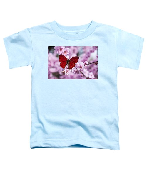 Red Butterfly On Plum  Blossom Branch Toddler T-Shirt