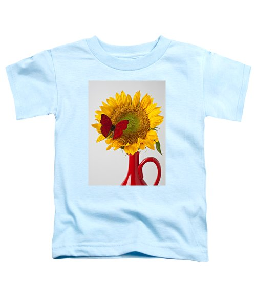 Red Butterfly On Sunflower On Red Pitcher Toddler T-Shirt
