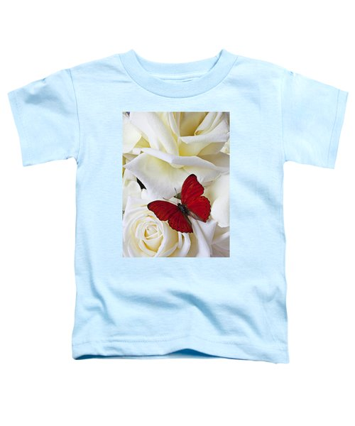 Red Butterfly On White Roses Toddler T-Shirt