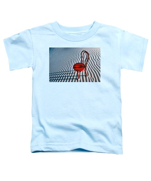 Red Chair In Sand Toddler T-Shirt by Garry Gay