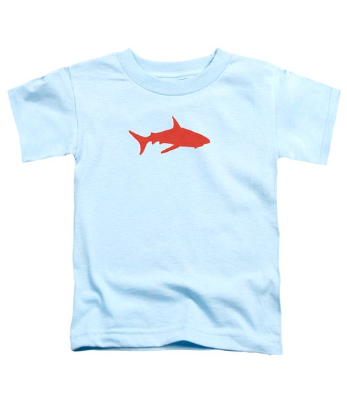 Red Shark Toddler T-Shirt by Linda Woods
