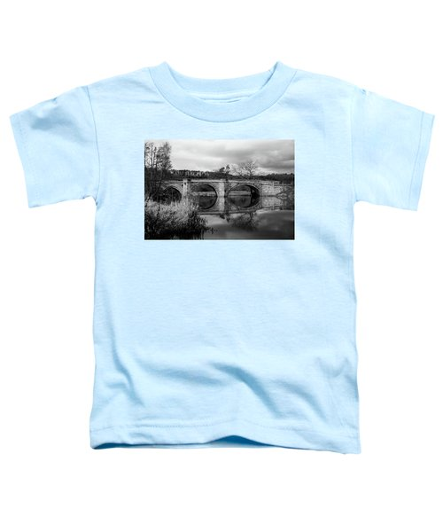Reflecting Oval Stone Bridge In Blanc And White Toddler T-Shirt