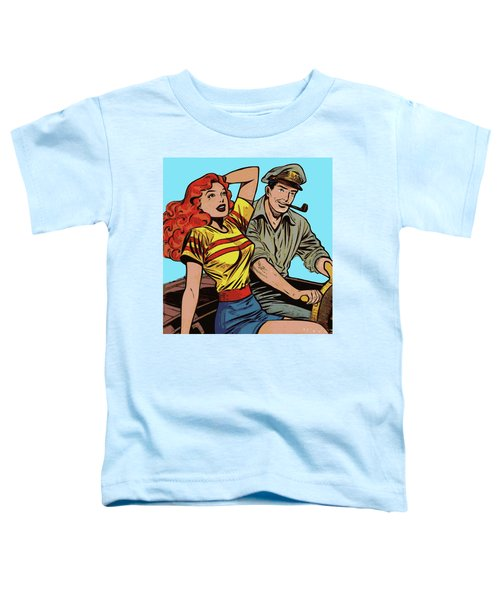 Toddler T-Shirt featuring the digital art Retro Couple On Boat Comic Style by Joy McKenzie