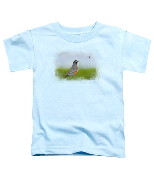 Robin In The Field Toddler T-Shirt by Jai Johnson