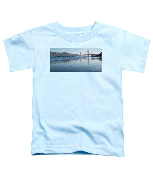 San Francisco Golden Gate Bridge Reflected On Baker's Beach Wet  Toddler T-Shirt
