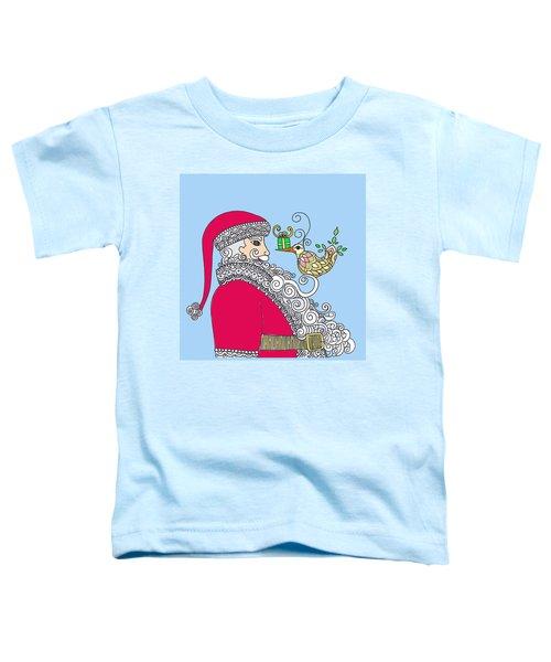 Santa And Bird On Blue Toddler T-Shirt