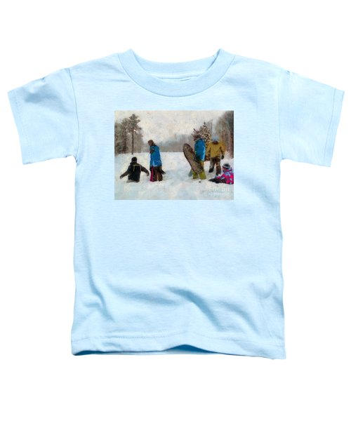 Six Sledders In The Snow Toddler T-Shirt