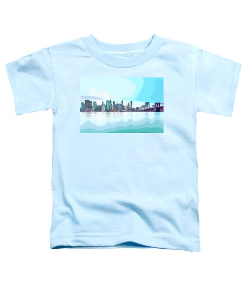 Skyline Of New York City, United States In Blues Toddler T-Shirt