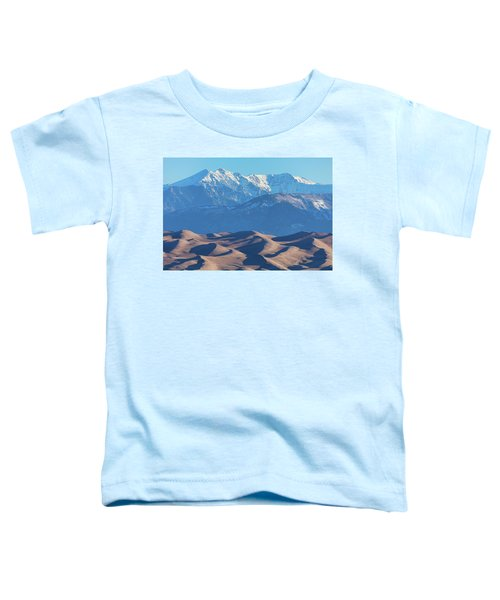 Snow Covered Rocky Mountain Peaks With Sand Dunes Toddler T-Shirt by James BO Insogna