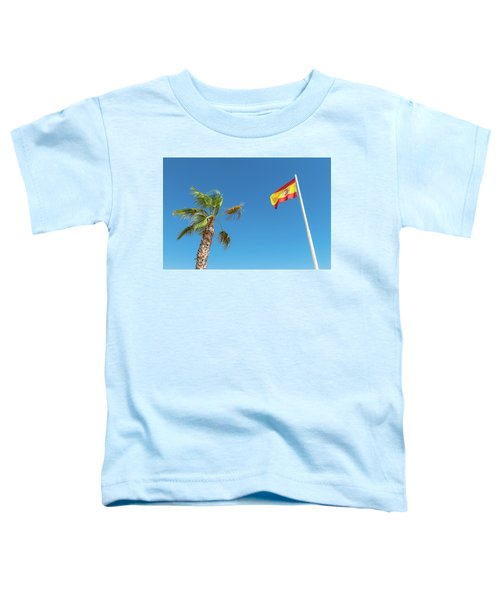 Spanish Flag And Palm Tree In The Blue Sky Toddler T-Shirt
