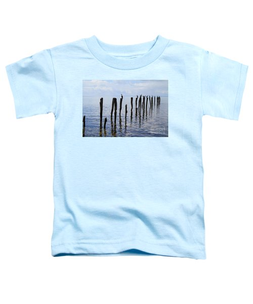 Toddler T-Shirt featuring the photograph Sticks Out To Sea by Stephen Mitchell