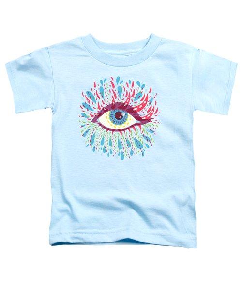 Strange Blue Psychedelic Eye Toddler T-Shirt by Boriana Giormova