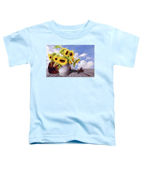 Sunflowers With Violin And Clouds Toddler T-Shirt