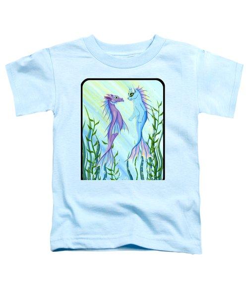 Sunrise Swim - Sea Dragon Mermaid Cat Toddler T-Shirt by Carrie Hawks