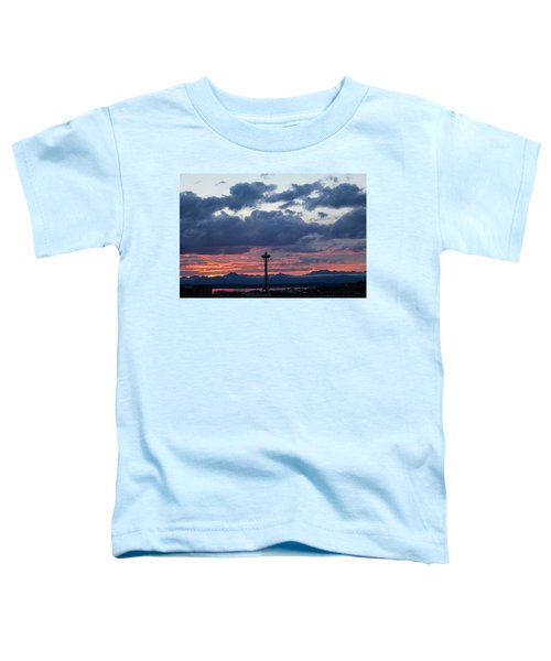 Sunset Red Clouds And Space Needle Toddler T-Shirt