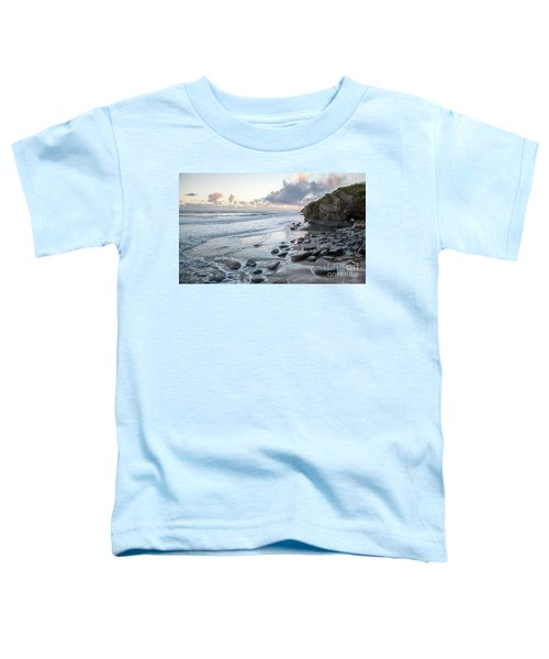 Sunset View In The Distance With Large Rocks On The Beach Toddler T-Shirt