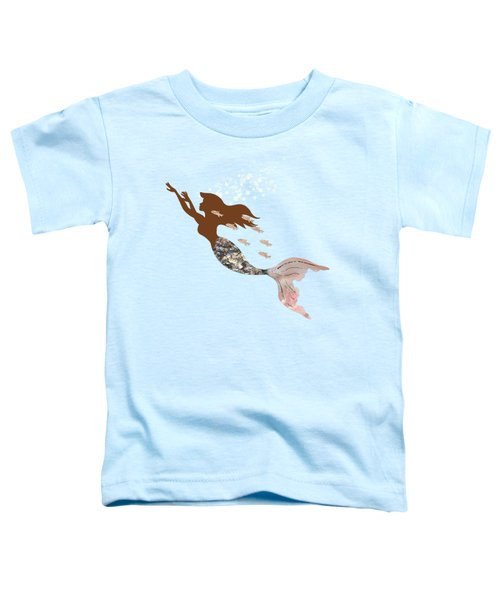 Swimming With The Fishes A Brown Mermaid Racing Rose Gold Fish Toddler T-Shirt by Tina Lavoie