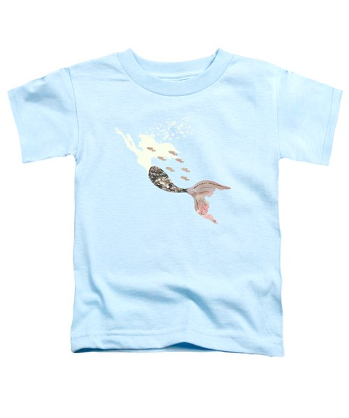 Swimming With The Fishes A White Mermaid Racing Rose Gold Fish Toddler T-Shirt by Tina Lavoie