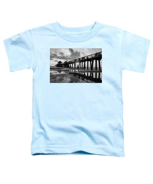 Naples Pier At Sunset Naples Florida Black And White Toddler T-Shirt