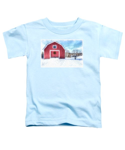 Traditional New England Red Barn In Winter Watercolor Toddler T-Shirt
