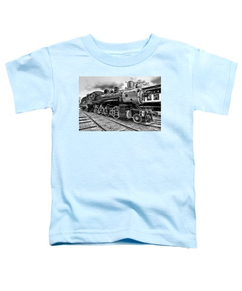 Train - Steam Engine Locomotive 385 In Black And White Toddler T-Shirt