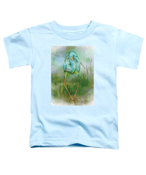 Tri-colored Heron Balancing Act - Colorized Toddler T-Shirt
