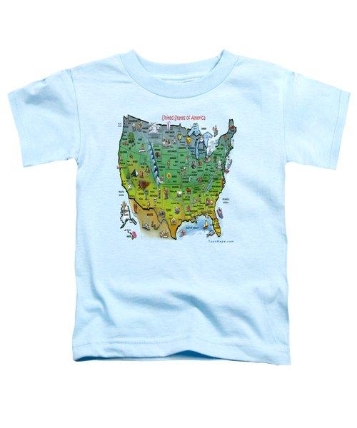 Usa Cartoon Map Toddler T-Shirt