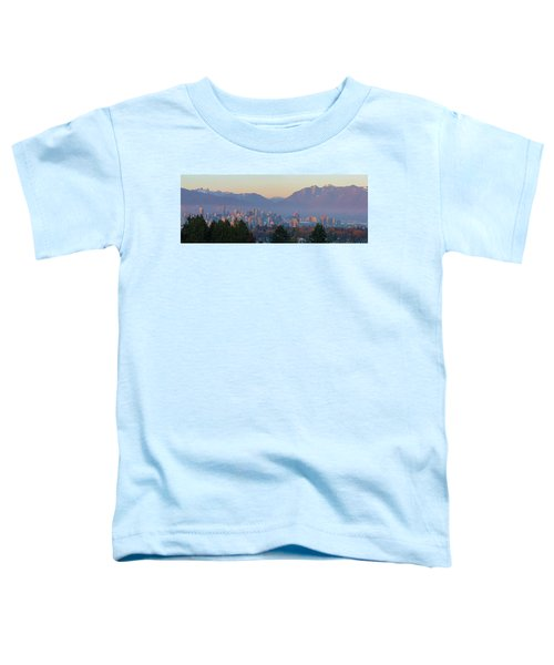 Vancouver Bc Downtown Cityscape At Sunset Panorama Toddler T-Shirt